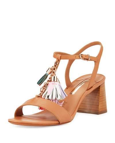 Sophia Webster Juno Tassel-Embellished Leather Sandals In Luggage
