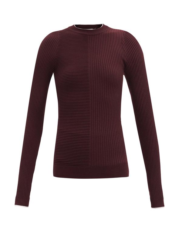 Vaara Filipa Rib-knitted Wool Long-sleeved T-shirt In Plum