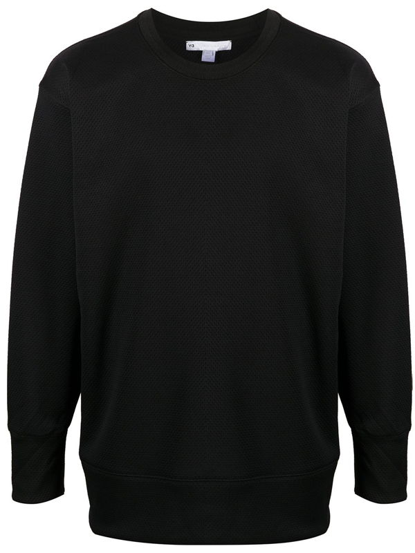Y-3 Y3 Crewneck Sweatshirt In Black Brushed Cotton With Matching Rubberized Front Logo