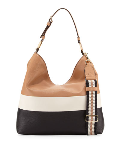Tory Burch Duet Striped Leather Hobo Bag In Black