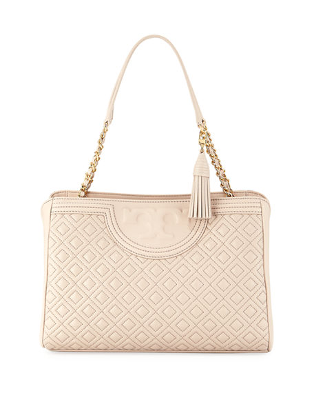 Tory Burch Fleming Quilted Leather Open Shoulder Bag In Bedrock