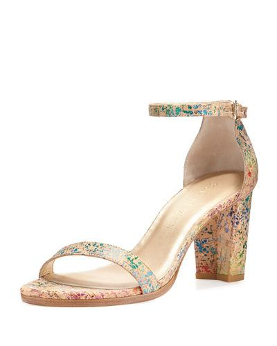 Stuart Weitzman Nearlynude Printed Cork City Sandals, Confetti