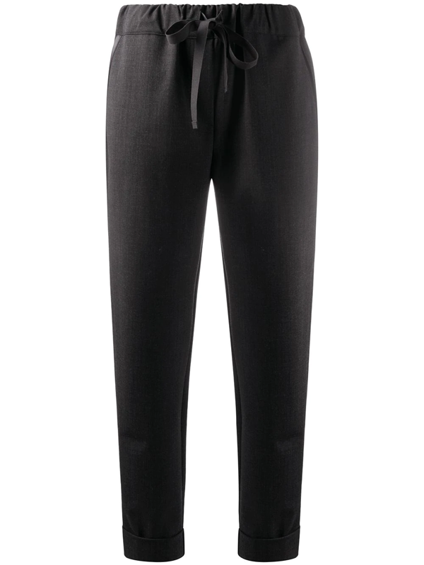 Semicouture Crop Trousers With Drawstring In Black