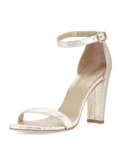 Stuart Weitzman Walkway Foil Napa Ankle-Wrap Sandal In Gold