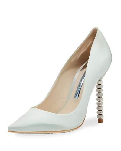Sophia Webster Coco Satin Crystal-Heel Bridal Pumps, Ice Blue