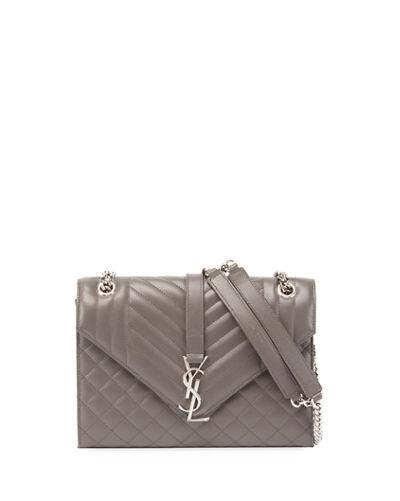 Saint Laurent Kate Monogram Medium Mixed-MatelassÉ Chain Shoulder Bag In Gray