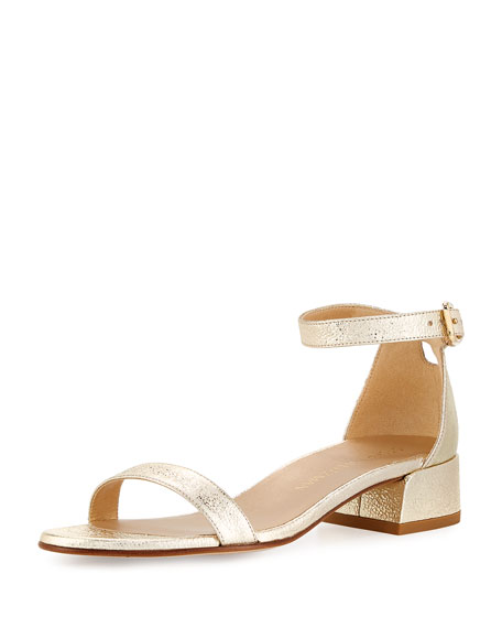 Stuart Weitzman Nudistjune Suede Low City Sandal, Gold
