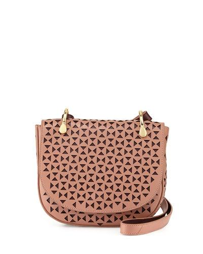 Elizabeth And James Zoe Perforated Leather Saddle Bag In Twig/Wine