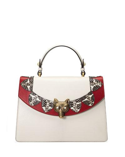 Gucci Linea E Loved Top-Handle Satchel Bag, White/Red In Neutrals