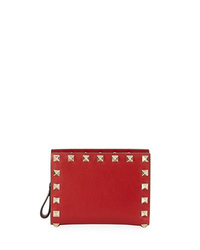 Valentino Rockstud Leather French Wallet In Red