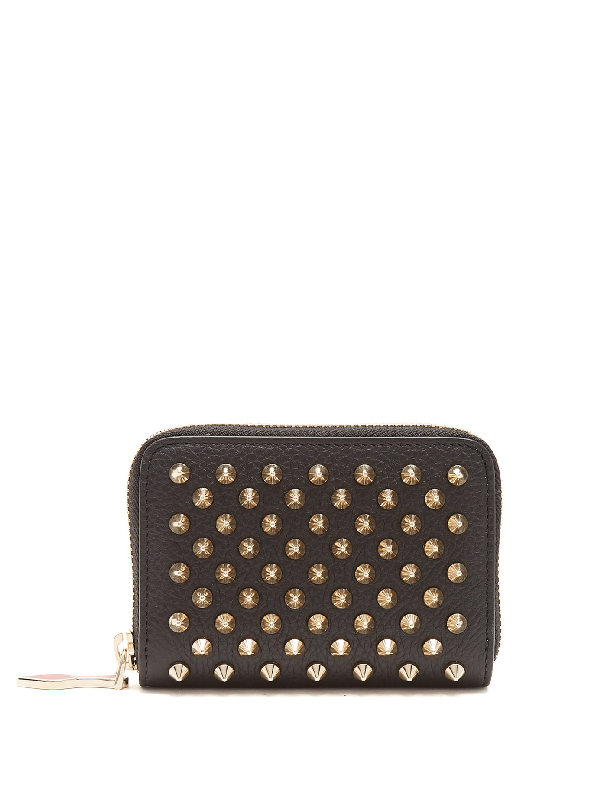 2a701884a4 Christian Louboutin Panettone Spike-Embellished Leather Coin Purse In Black