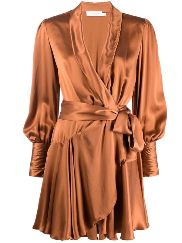Zimmermann Wraparound Mini Dress In Neutrals