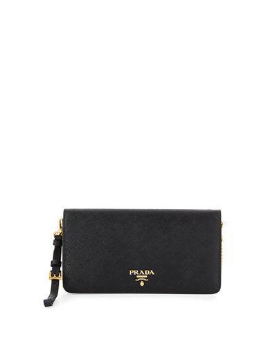 Prada Saffiano Flap Phone Wristlet Wallet W/ Crossbody Strap, Black