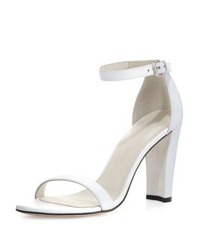 Stuart Weitzman Walkway 90Mm Napa Ankle-Wrap Sandal In White