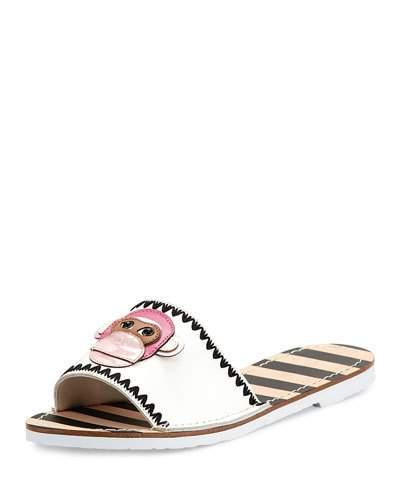 Kate Spade Inyo Leather Flat Slide Sandal, White