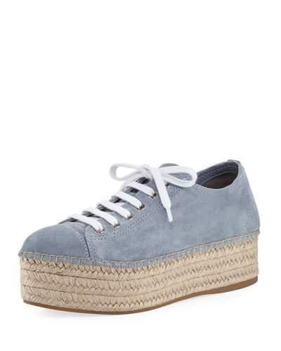 Miu Miu Suede Platform Espadrille Sneaker, Light Blue