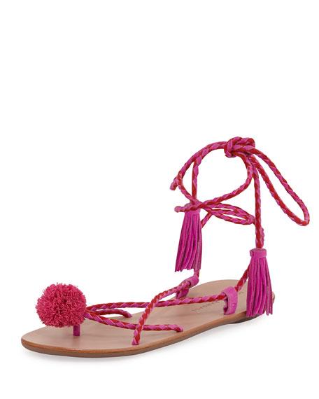 Loeffler Randall Bo Pompom Flat Lace-Up Sandal, Magenta