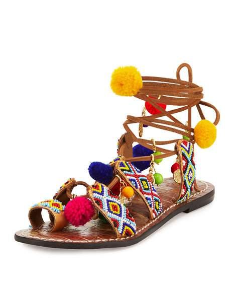 Sam Edelman Lisabeth Beaded Pompom Sandal, Saddle/Multi