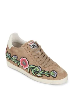 Ash Gull Embroidered Suede Low-Top Sneaker, Coco In Cocco