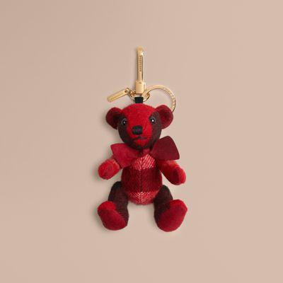 Burberry Thomas Bear Check Cashmere Bag Charm, Parade Red