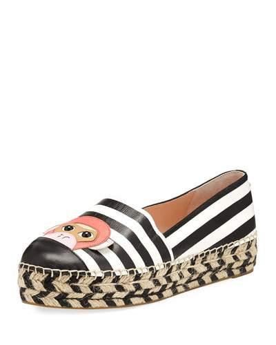 Kate Spade Lincoln Striped Flat Espadrille, Black