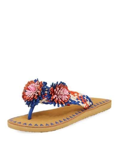 Kate Spade Idette Pompom Woven Flat Sandal, Blue
