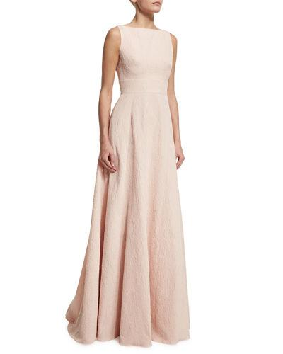 Lela Rose Sleeveless V-Back Gown In Blush