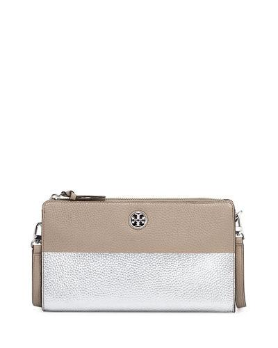 Tory Burch Perry Colorblock Wallet Crossbody Bag In French Gray/Silvr