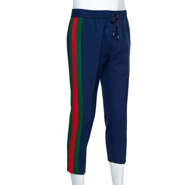 Pre-owned Gucci Blue Wool Mohair Twill Web Striped Cropped Pants S