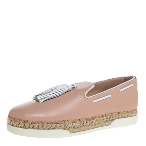 Pre-owned Tod's Pink Leather Tassel Espadrille Loafers Size 40.5