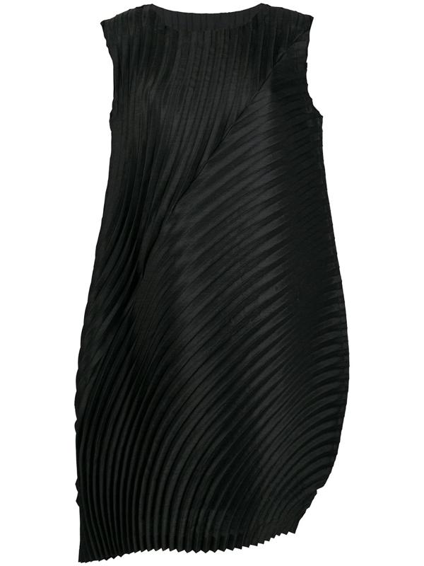 Issey Miyake Asymmetric Pleated Shift Dress In 15 Black