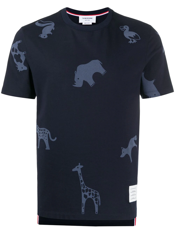 Thom Browne Cotton T-shirt With Animal Print In Blue