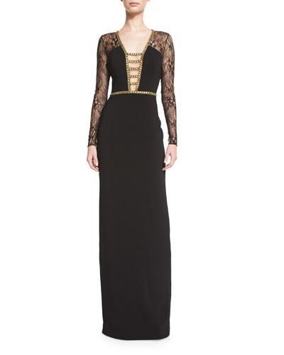 Badgley Mischka Lace-Sleeve Deep-V Gown, Black