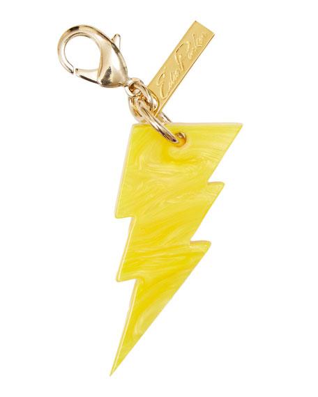 Edie Parker Lightening Bolt Bag Charm, Yellow Glow
