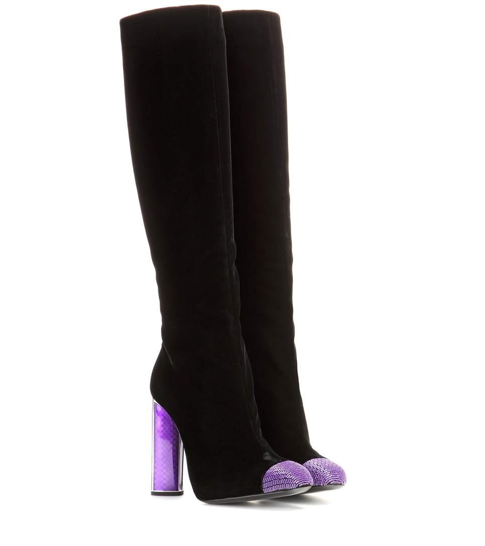 Tom Ford Woman Bead-embellished Velvet Knee Boots Black