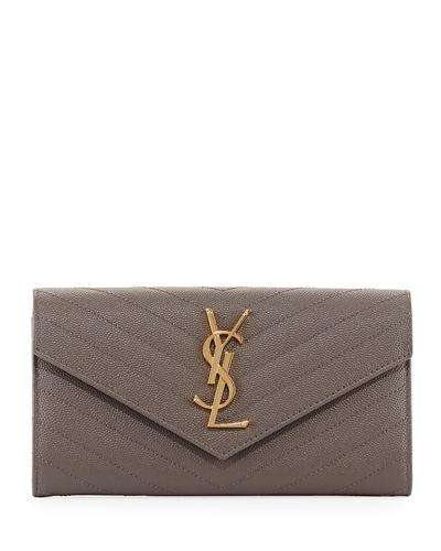 Saint Laurent Monogram Leather Medium Flap Continental Wallet In Gray