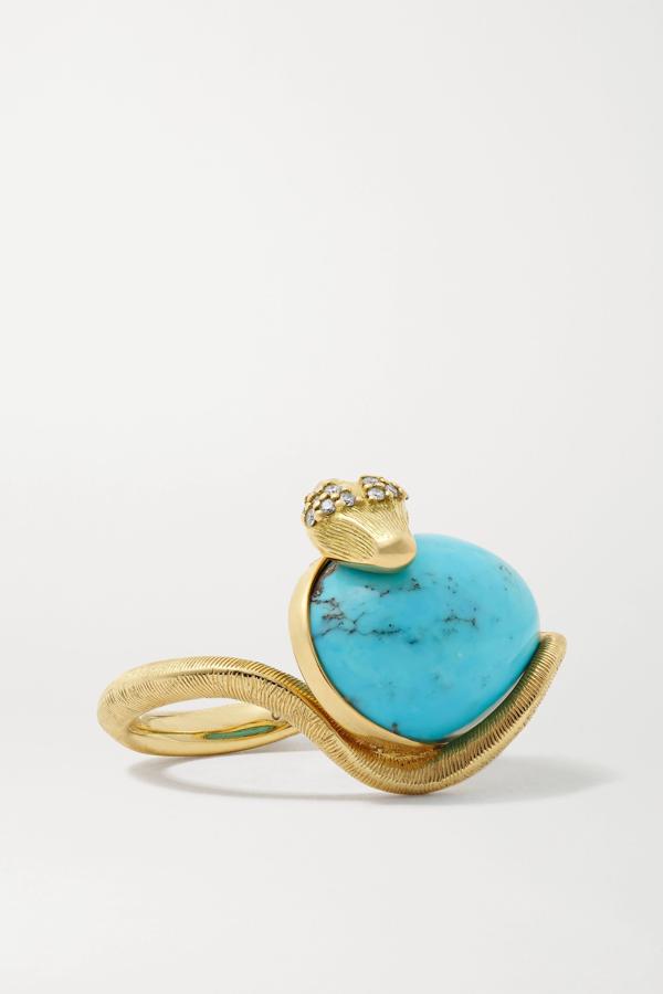 Ole Lynggaard Copenhagen Snake 18-karat Gold, Turquoise And Diamond Ring