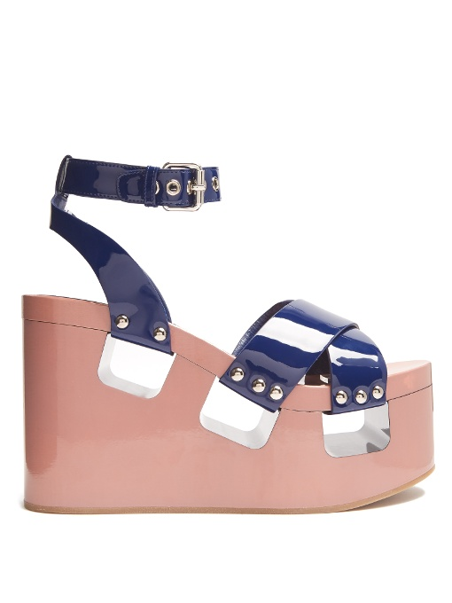 Miu Miu Patent-Leather Wedge Sandals In Navy Multi