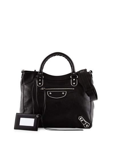 Balenciaga Metallic Edge Classic Velo Aj Bag In Black