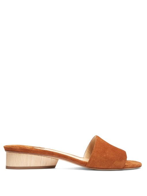 Paul Andrew Suede Mule Sandals In Tan