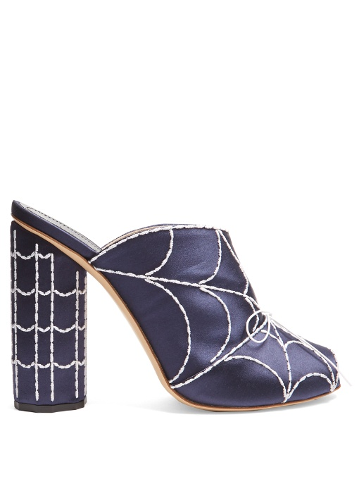 Marco De Vincenzo Spider's Web-Embroidered Satin Mules In Navy Multi