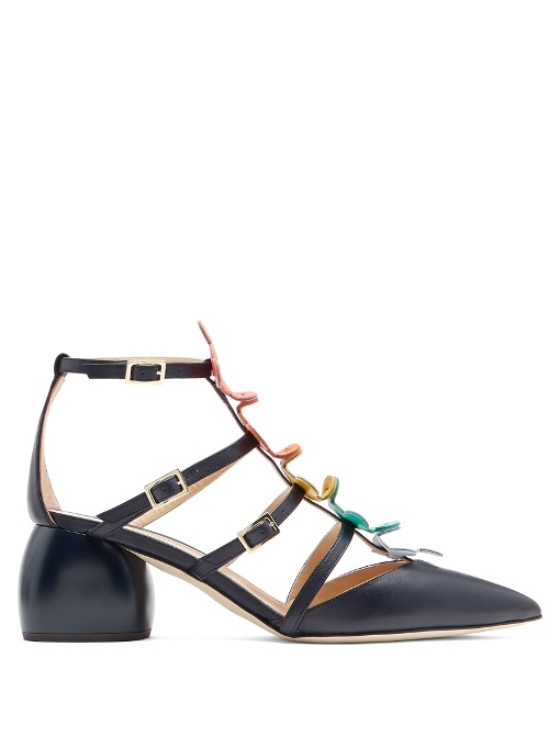 Anya Hindmarch 'Apex' Geometric Nappa Leather Caged Sandals In Navy