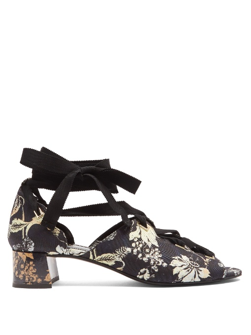 Erdem Riyeka Vanguard Midnight-Print Block-Heel Shoes In Navy Multi