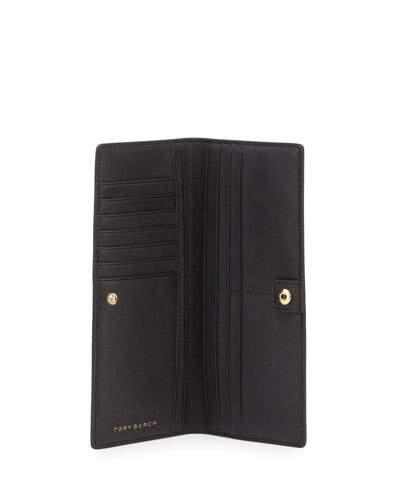 Tory Burch Robinson Slim Saffiano Leather Wallet In Black