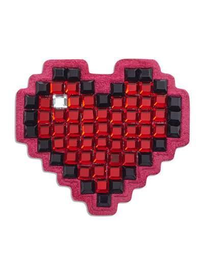 Anya Hindmarch Heart Crystal Sticker For Handbag, Red
