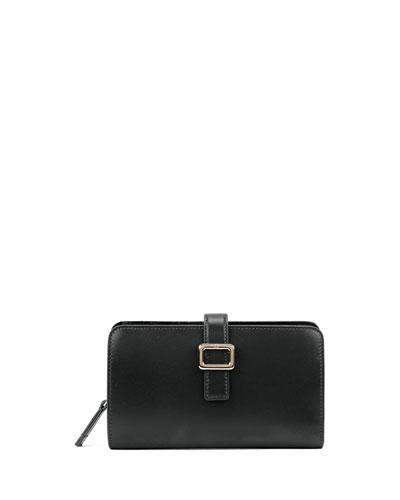 Roger Vivier Leather Buckle Zip-Around Wallet, Black