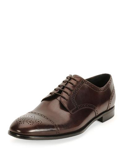 Giorgio Armani Burci Toronto Leather Derby Shoe, Brown