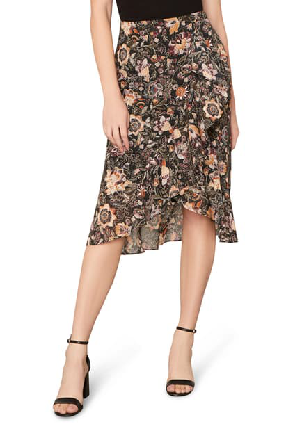 Cupcakes And Cashmere Casey Floral Wrap Front Skirt In Black