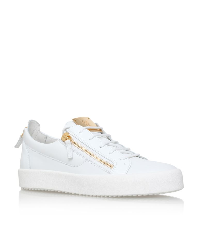 Giuseppe Zanotti Men's Patent Leather Low-Top Sneaker, White, Black
