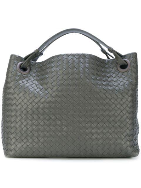 Bottega Veneta Medium Intrecciato Garda Shoulder Bag In Grey